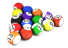 Billiard balls out of American billiards Stock Photography