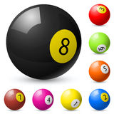 Billiard balls out of American billiards Stock Photo