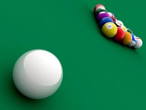 Billiard balls in perspective Stock Photo
