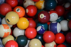 Billiard balls. A pile of colorful billiard balls royalty free stock images