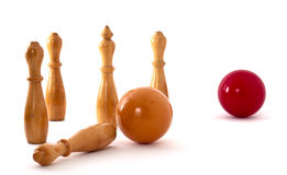 Billiard balls and pins Stock Image