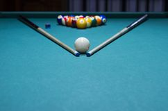 Billiard balls - pool, billiard cue placed in triangular. Royalty Free Stock Photography