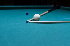 Billiard balls - pool, billiard cue placed in triangular. Focus on the white ball Stock Photography