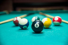 Billiard balls pool stock photo