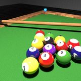 Billiard balls on a pool. Square image, 3d rendering Stock Photo