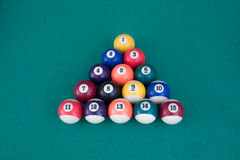 Billiard balls. On a pool table Stock Photography