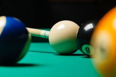 Billiard balls in a pool table Stock Photo