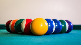 Billiard balls on the pool table Royalty Free Stock Image