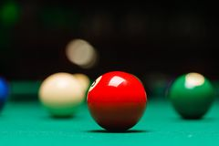 Billiard balls in a pool table. Royalty Free Stock Photos