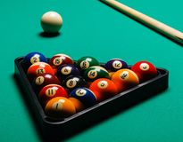 Billiard balls in a pool table. Royalty Free Stock Photography