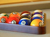 Billiard balls in a pool table. Colorful Billiard balls in a pool table Stock Images