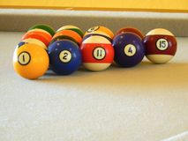 Billiard balls in a pool table. Colorful Billiard balls in a pool table Stock Photo