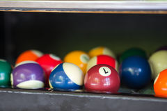Billiard balls in a pool table. Colorful billiard balls in the table pocket Royalty Free Stock Image