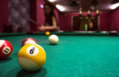 Billiard balls on a pool table. Copyspace Stock Photos