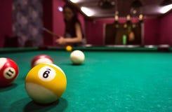 Billiard balls on a pool table. Copyspace stock photos