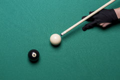 Billiard balls in a pool table. Eight ball stock photography