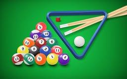 Billiard balls in a pool table Stock Photos