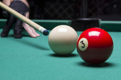 Billiard balls in a pool table. focus on the white ball Stock Photography