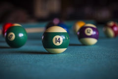 Billiard balls on a pool table. Royalty Free Stock Photography