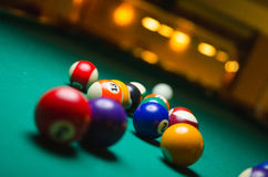 Billiard balls in a pool table. Stock Images