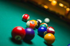 Billiard balls in a pool table. Game Stock Photo