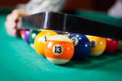 Billiard balls in a pool table Royalty Free Stock Photography