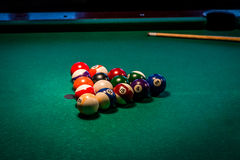 Billiard balls on a pool table Royalty Free Stock Images