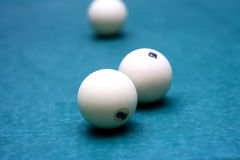 Billiard balls in a pool table Royalty Free Stock Images
