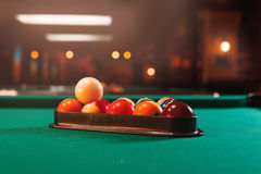 Billiard balls in a pool table. Royalty Free Stock Images