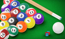 Billiard balls in a pool table. Vector. Illustration. EPS 10 Stock Image