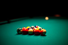 Billiard balls that ready for the break Royalty Free Stock Photos