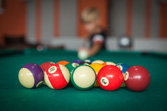 Billiard balls ready to start the new game Royalty Free Stock Photos