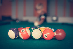 Billiard balls ready to start the new game Stock Images
