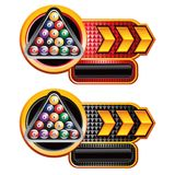Billiard balls on red and black checkered arrow ad. Red and black checkered arrow banners with billiard balls Stock Images