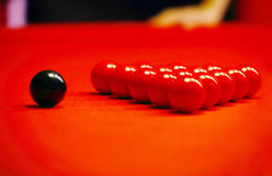 Billiard balls on a red cloth Stock Photography
