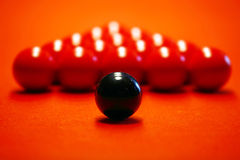 Billiard balls on a red cloth. Close up Billiard balls on a red cloth stock photo