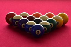 Billiard balls on a red felt pool table stock photo