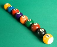 Billiard balls in row Royalty Free Stock Photo