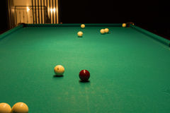 Billiard Balls Scattered on Pool Table Stock Image