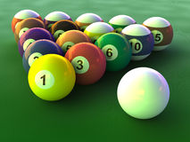 Billiard balls set. Close up on green table Stock Illustration