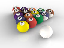Billiard balls set. Close up on white background Vector Illustration