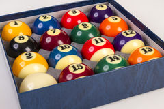 Billiard balls set in a box Stock Images