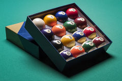Billiard balls. Set in a  box side view Stock Photos