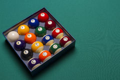 Billiard balls. Set in a  box side view; left said Royalty Free Stock Images