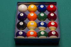 Billiard balls set in a  box top view; Stock Photo