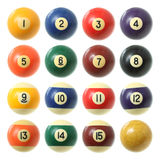 Billiard balls set. Billiard balls (pool balls) set isolated on white background Royalty Free Stock Images