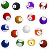 Billiard balls set, sixteen balls in different positions Stock Images