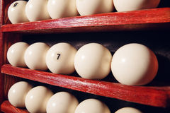 Billiard balls. On the shelves close up Royalty Free Stock Photography