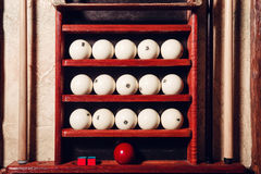 Billiard balls. On the shelves close up Stock Photography