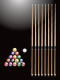 Billiard balls and sticks. Picture of billiard balls and sticks Stock Images